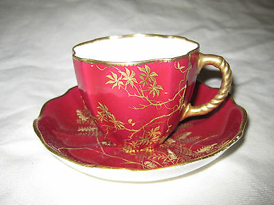 Royal Crown Derby Red w/ Hand Painted Gold Foliage Tea Cup & 4 Saucers Antique