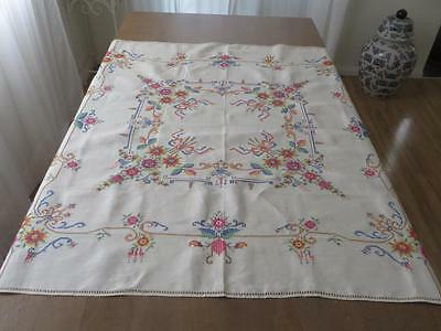 UNUSED Vintage Hand Embroidery Roses Linen Tablecloth & Napkins 120x120cm