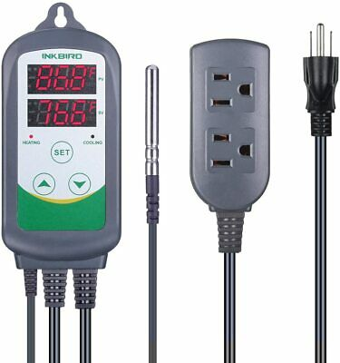 Inkbird ITC-308 Pre-Wired Dual Stage Digital Temp Control Thermostat Outlet 110V
