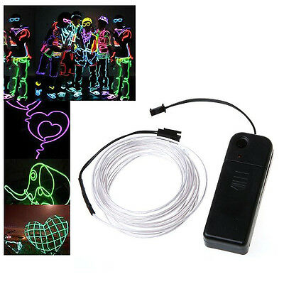 WS 5X 3M White Flexible Neon Light EL Wire Rope Tube with Controller WS