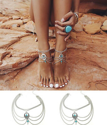 2016 Beach Foot Jewelry Boho Anklet Barefoot Sandals Turquoise Beads Tassel
