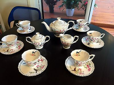 NEW High Tea/Coffee Set Blue Wren Series '15 Pieces' Fine Bone China SET
