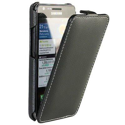 Black Leather Case Cover for Samsung i9100 Galaxy S2 II Android Mobile Holder