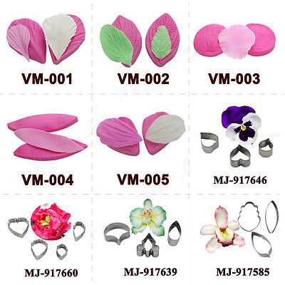 Gumpaste Silicone Double Veiners Cutter Peony Orchid Sugarcraft Art Design Molds