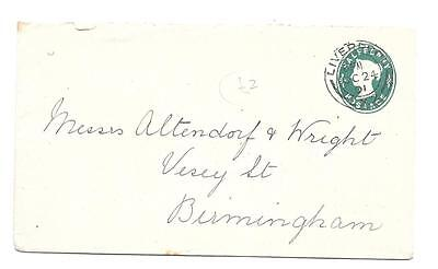 Stationery -- Half Penny Green - Liverpool To Birmingham -- 1901