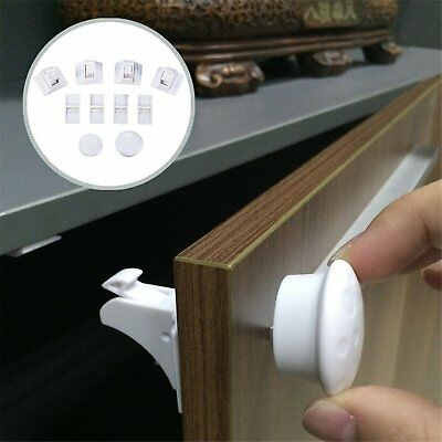 4/8pcs Magnetic Baby Child Kids Proof Cupboard Cabinet Drawer Door Safety Lock
