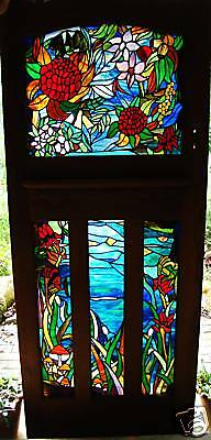 AUSTRALIAN WILDFLOWERS STAINED GLASS ART antique cedar door READY TO SHIP & HANG