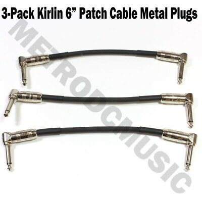 "3-Pack Kirlin 6"" Patch Cable Right-Angle Metal 1/4 Guitar Instrument Effect Cord"