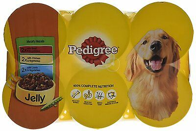 Wet Dog Food Pedigree Can Meaty Meals Jelly Chicken Lamb Beef 24 cans x 400 g