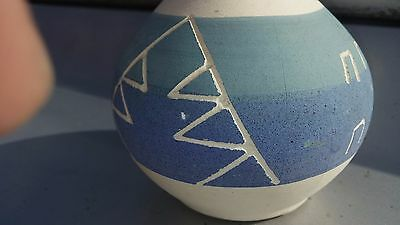 Navajo Native American Indian Etched Pottery Vase Signed