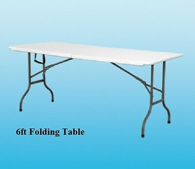 Heavy Duty Folding Table Camping Picnic Banquet Event Party Garden White