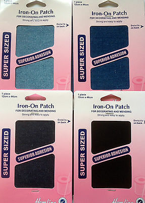 Hemline Large Denim Iron-On Patches Mending/Repair Strong&Easy To Apply 12x45cm