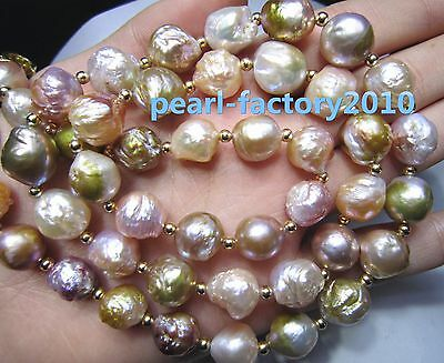 """baroque 24"""" AAA 12-13MM SOUTH SEA NATURAL multicolor PEARL NECKLACE 14K  CLASP"""