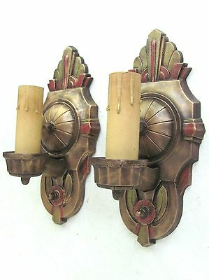 AWESOME! PAIR of Antique LINCOLN MARIETTA Art DECO Wall Sconces - RESTORED!