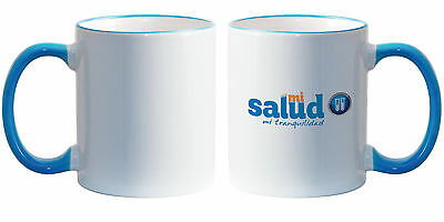11 oz Ceramic Sublimation Mugs - Light Blue Rim & Handle - 36/case (21128-1)