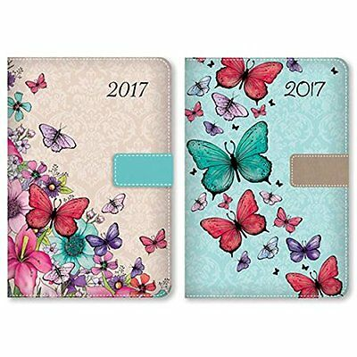 2017 A5 Day a Page Monthly Indexed Fabric Organiser Diary Butterfly Design Gift