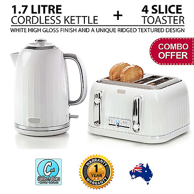 White Silver Cordless 1.7L Electric Kettle and 4 Slice Toaster Combo Kitchen Set