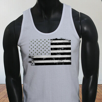 cbc5929f62bb29 4Th Fourth Of July Fireworks Sky Rockets American Flag Mens White Tank Top
