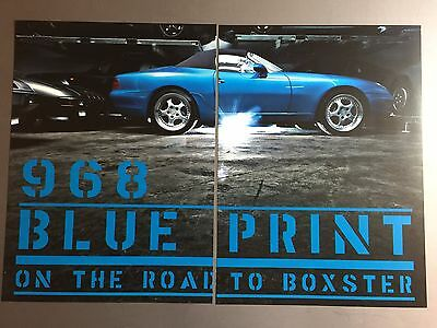1991 Porsche 968 Roadster Showroom Advertising Sales 2 Poster Set RARE!! Awesome