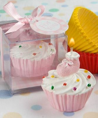 Set of 6 Cupcake Design Candles Baby Shower Christening Favors Gifts