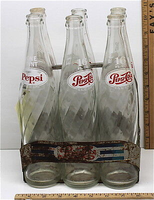 Vintage Pepsi Cola Embossed Aluminum Metal Soda Bottle Carrier w/ 16 Oz. Bottles