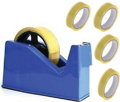 Desktop Heavy Duty Heavy Weight Sellotape Cellotape Tape Dispenser +4 Rolls Tape