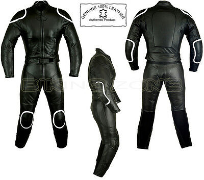 Womens Black Horizon Style Ladies Armour Motorbike / Motorcycle Leather Suit