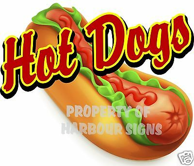 "14"" Hot Dogs Decal Concession Food Truck Cart Restaurant Vinyl Menu Sign Sticker"