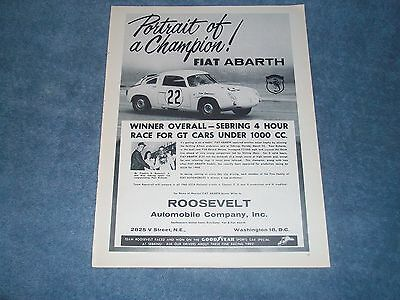 "1960 Fiat Abarth Vintage Ad ""Portrait of a Champion"" Sebring 4-Hour Race Winner"