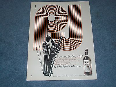 "1971 Paul Jones Blended Whiskey Vintage Ad ""P.J. Goes Anywhere. With Anybody."""