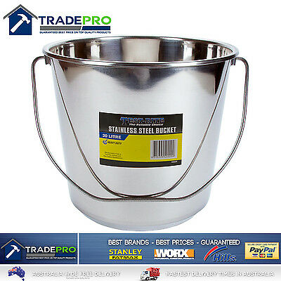 Stainless Steel Bucket with Handle 20Ltr HDuty Premium Quality NewModel 20L Pail