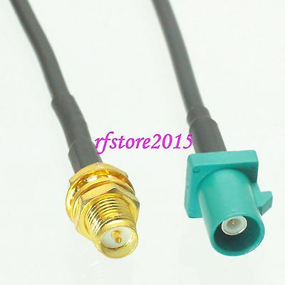 Cable RG174 6inch Fakra SMB Z 5021 male to RP-SMA female bulkhead Pigtail Jumper