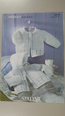 Sirdar Knitting Pattern #1579 Baby Matinee Coat & Hoodie to Knit in Snuggly DK