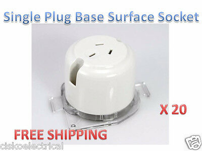 20x Surface Sockets Outlet Plug Base Wholesale Price 10amp 240Volts