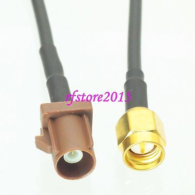 Cable RG174 6inch Fakra SMB F 8011 male plug to SMA male plug RF Pigtail Jumper