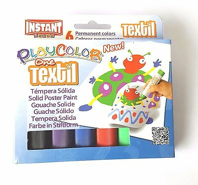 Playcolor Solid Textile Fabric Paint Sticks ** Pack Of 6 x Permanent Colours **