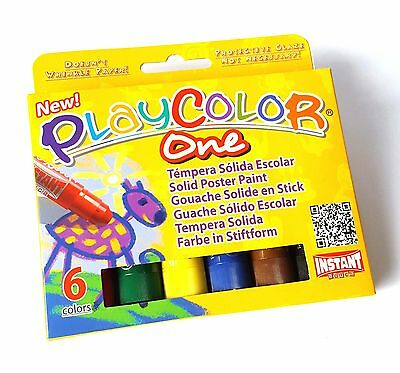 Playcolor Solid Poster Paint Sticks ** Pack Of Six Colours **