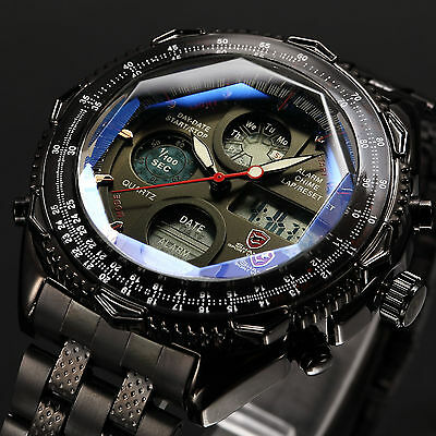 Shark Mens Black Digital LCD Date Chronograph Stainless Steel Quartz Sport Watch