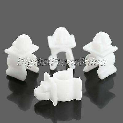 9mm Hole White Plastic Hood Prop Rod Fastener Support Clips  For Nissan 50Pcs