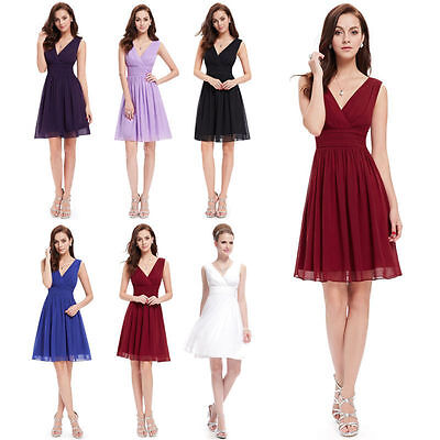 New Double V-neck Short Prom Ball Cocktail Dress Formal Evening Party Mini Dress