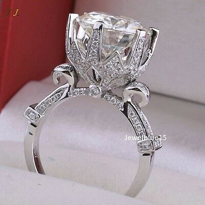 2.00 CT Off White Moissanite Lotus Flower Engagement 925 Sterling Silver Ring
