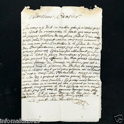 1698 Malta Entire letter Handwritten in French. Early and Rare