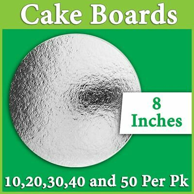 """Cake Board Round Silver 8 Inches"""" 10,20,30,40 and 50 Pk Cake Boxes Cupcake Boxes"""
