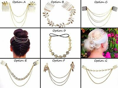 7 OPTIONS - Golden Hair Chains, Slide In, Hair Jewellery, Fashion, Chain, UK