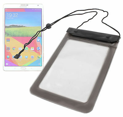 """Black Waterproof Bag / Case With Neck Strap For Samsung Galaxy Tab S2 8"""""""
