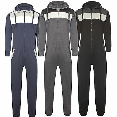 New Mens Ladies Hood Zip Panel Onezie Playsuit Jumpsuit All In One Comfy