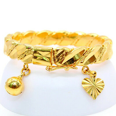 Vintage Gold Plated Heart Bracelet Children Boys Girls Baby Kids Jewelry Bangle