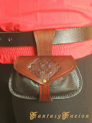 Medieval Knight Lord Larp Celtic Cross Little Leather Belt Pouch