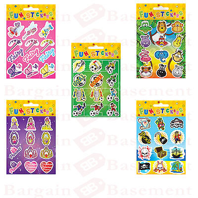 FUN STICKERS Kids Party Bag Filler Stickers Girls/Boys 5 Various Themes Parties