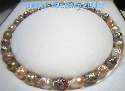 """baroque 18"""" AAA 13X11MM SOUTH SEA NATURAL multicolor PEARL NECKLACE 14K  CLASP"""